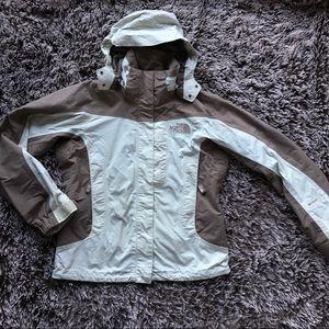 North face hyvent ski jacket coat beige brown XS